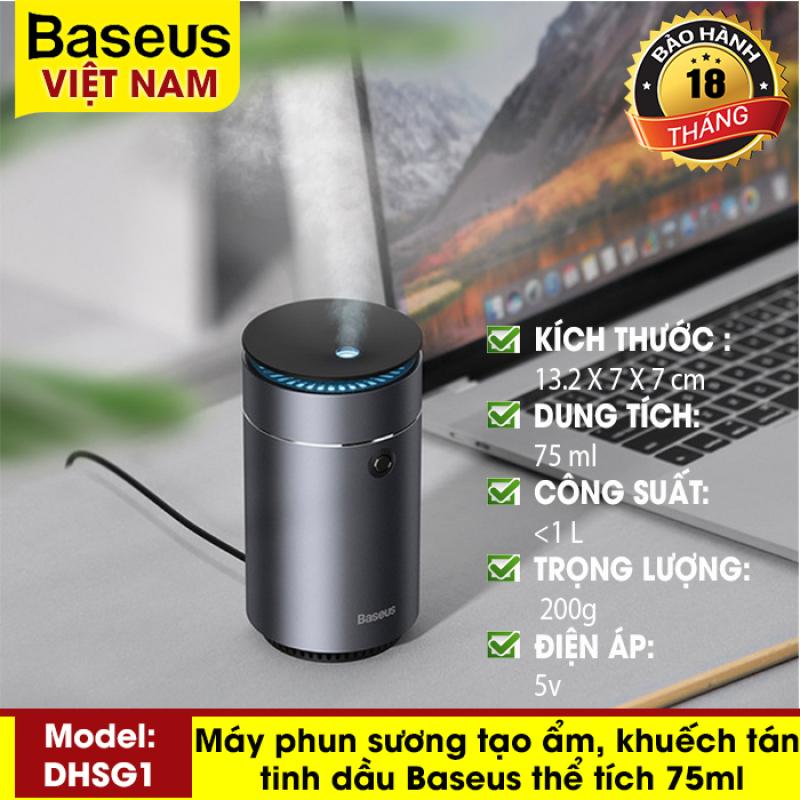 Máy phun sương tạo ẩm, khuếch tán tinh dầu Baseus Time Aromatherapy Machine Humidifier (DHSG1) dung tích 75ml, chất liệu vỏ hợp kim cho văn phòng, xe hơi, nhà ở