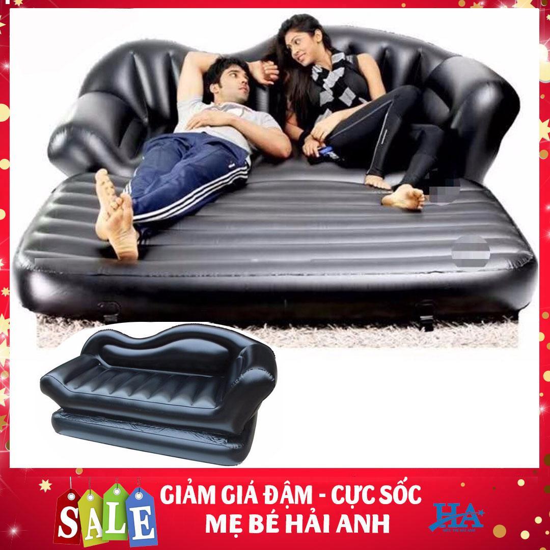 Ghế giường hơi 2 trong 1 cao cấp, đệm hơi kiêm nệm hơi đa năng khác biệt ghế hơi intex TẶNG KÈM BƠM (MÀU ĐEN SANG TRỌNG) - MBHANG90