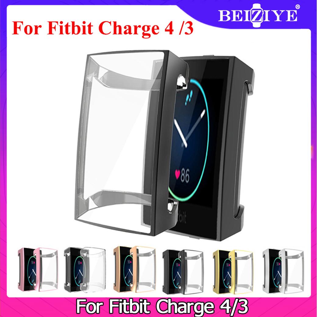 Bảo vệ màn hình cho Fitbit Charge 4 Vỏ TPU Silicone Bảo vệ Vỏ trong suốt Vỏ cho Fitbit Charge 4 Charge 3 Đồng hồ thông minh Đồng hồ đeo tay Phụ kiện