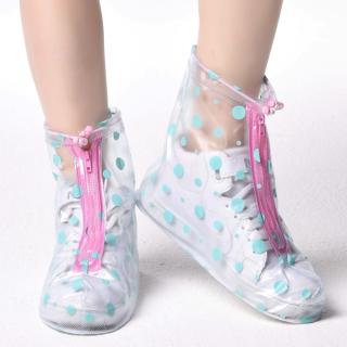 Bao bọc giày đi mưa A-612 nhựa dẻo 100% PVC (chấm bi xanh) thumbnail