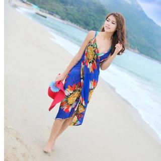 Đồ Bơi Nữ Deep V Quấn Vải Voan Đồ Bơi Bikini Che Đi Biển Đầm Sâu V Backless Quấn Hoa Vải Voan Che Đi Biển Sarong-Intl thumbnail