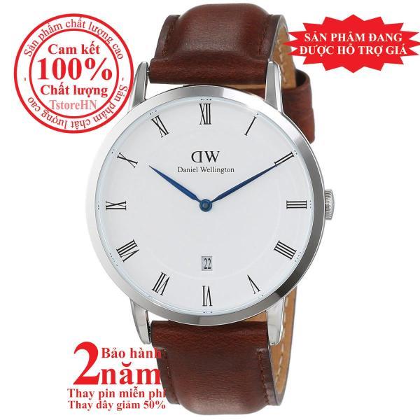 Đồng hồ nữ Daniel Welington St Mawes 34mm - Màu Bạc (Silver), mặt trắng (White), dây da nâu, DW00100095
