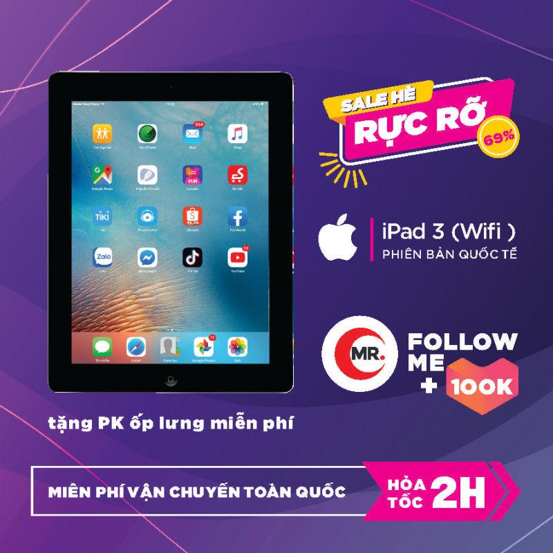 Máy tính bảng Apple iPad 3 bản Quốc Tế, Ram 1 G, Full HD, bộ nhớ 16 Gb, Pin trâu 11000 mah, tặng củ zin iPad 12W phụ kiện và ốp lưng MR CAU