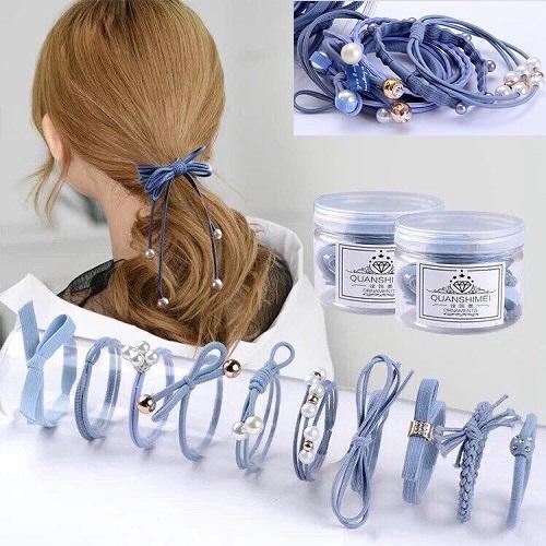Cột tóc Hàn Quốc siêu xinh - Hộp 12 dây buộc tóc Hàn Quốc đủ màu