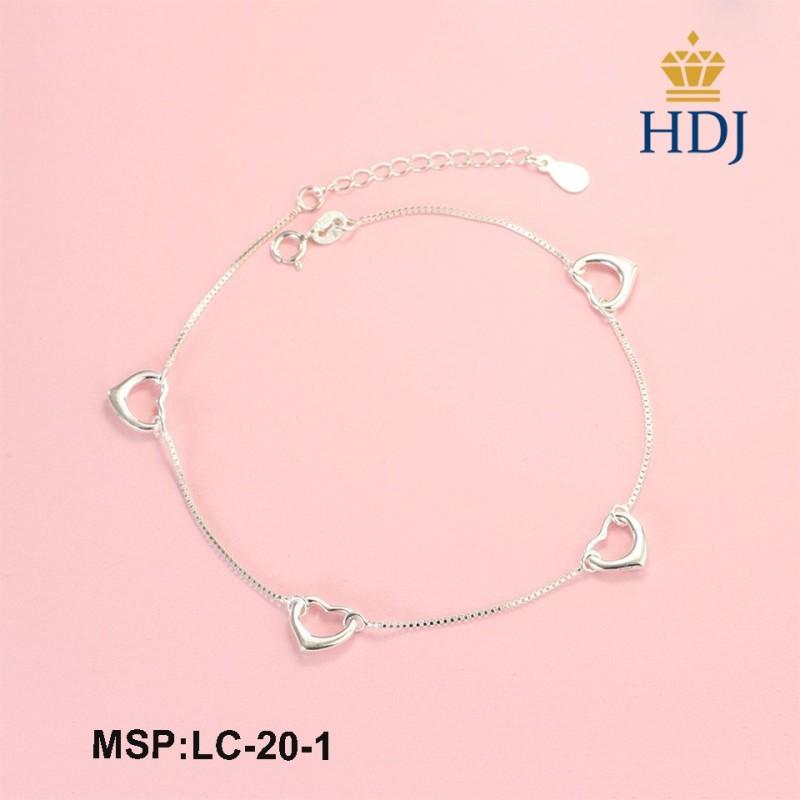Lắc chân nữ hình trái tim bằng bạc thật đẹp trang sức cao cấp HDJ mã LC-20-1