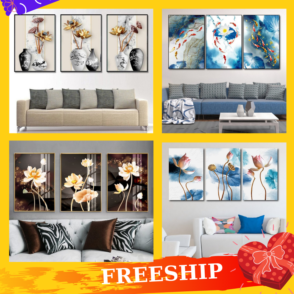 [Freeship] Tranh Canvas treo tường khung gỗ cao cấp LaLaShop - Bộ 3 bức tranh treo tường Hoa Sen tranh treo tường phòng khách 3d hiện đại, tranh vải treo tường tặng kèm đinh không cần khoan tường