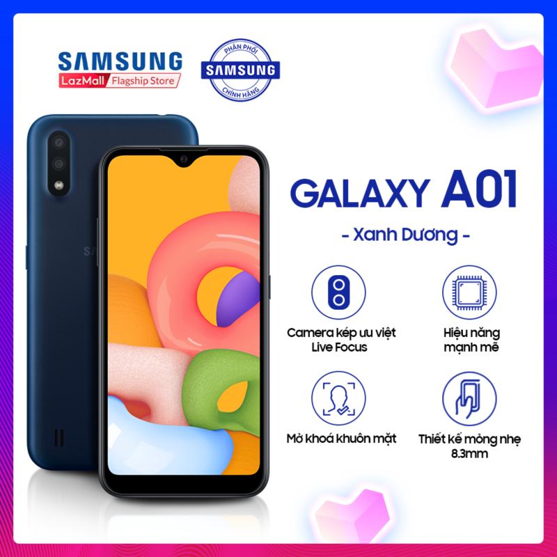 Điện thoại Samsung Galaxy A01 16GB (2GB RAM) - Màn hình tràn viền 5.7 Inch Infinity-V HD+ TFT - Cụm camere kép - Hai Sim Nano - Hỗ trợ 4G - Pin 3000mAH - Hàng phân phối chính hãng.