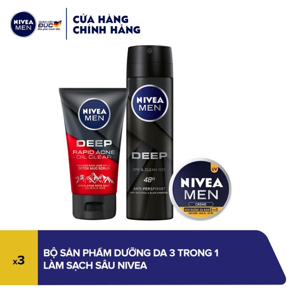 Bộ sản phẩm dưỡng da 3 trong 1 dành cho nam làm sạch sâu Nivea cao cấp
