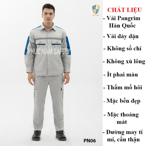 Quần áo bảo hộ vải Pangrim Hàn Quốc màu ghi đá xanh phối xanh dương PN07,bảo hộ lao đông, bao ho lao dong,quần áo bảo hộ, quần áo bảo hộ hàn quốc, quần áo công nhân, đồ bảo hộ lao động, quần áo bảo hộ cho kỹ sư