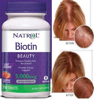 Viên ngậm kích mọc giảm rụng tóc Natrol Biotin 5000mcg hộp 250 viên vị dâu của Mỹ thumbnail