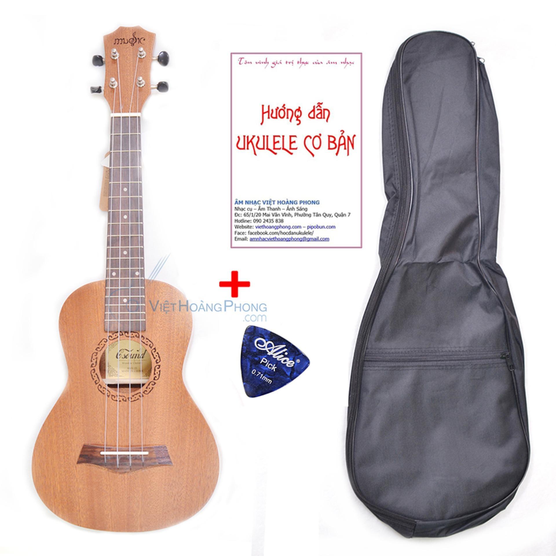 Đàn Ukulele Concert gỗ nguyên tấm Mahogany + Tặng bao đựng, sách học, phím gảy - HappyLive Shop