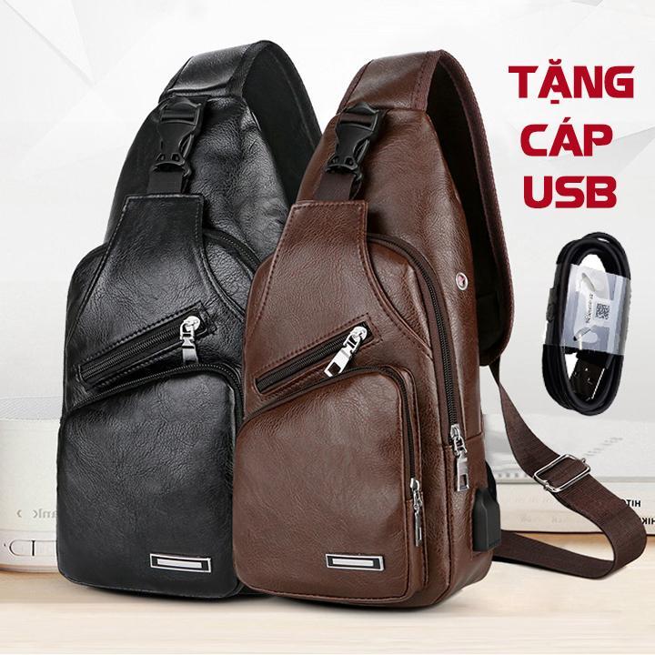 Giá Cực Tốt Khi Mua TẶNG CÁP SẠC USB - Túi đeo Chéo Nam Da Cao Cấp Có Cổng Sạc USB Và Lỗ Tai Nghe Thời Trang Hàn Quốc