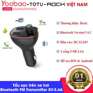 Tẩu sạc trên xe hơi Rock B300 Bluetooth FM Transmitter RAU0621 5V - 3.4A, 2 cổng USB tích hợp nghe nhạc MP3 bluetooth 4.2, bộ phát FM đàm thoại rảnh tay thumbnail