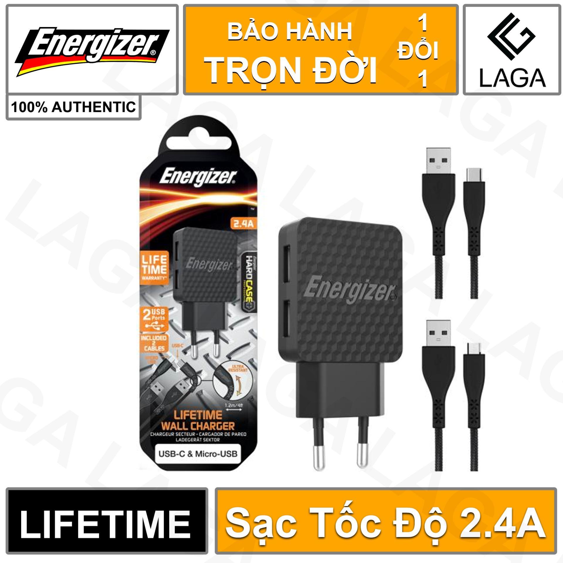 Sạc Energizer Lifetime Warranty 2.4A 2 USB kèm cáp USB Type C 2.0 & Micro USB - AC2BEULCMM
