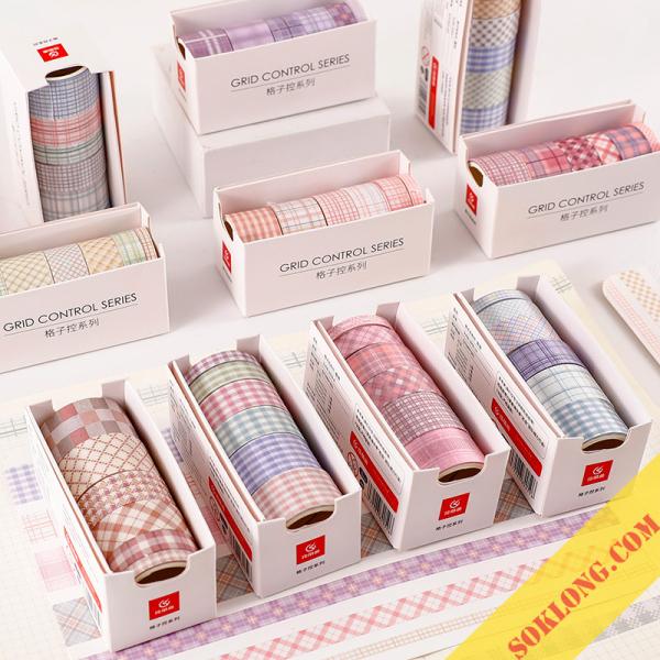 Bộ 6 washi tape nhiều size, set băng dính washi dán take note, sổ tay đa năng Tuệ Minh WA05