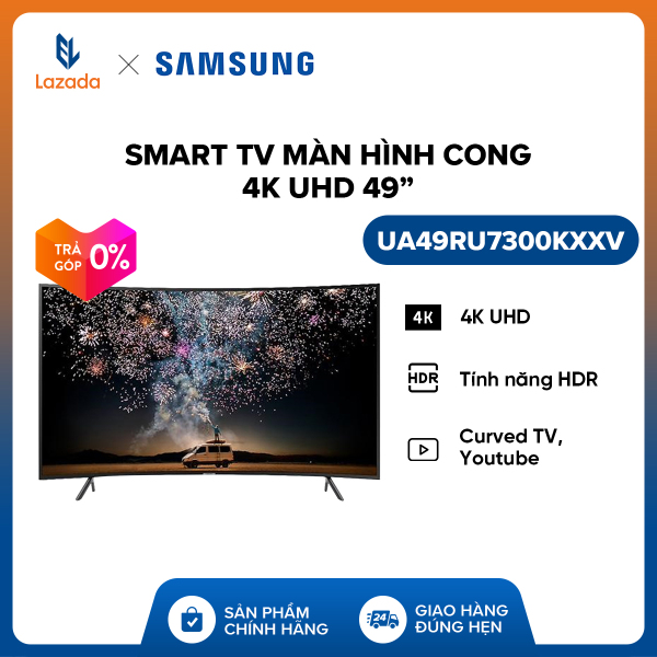 Bảng giá Smart TV Samsung màn hình cong 4K UHD 49inch - Model UA49RU7300KXXV (2019) - Cải tiến màu sắc PurColor + Bộ xử lý hình ảnh 4K UHD HDR - Hàng phân phối chính hãng