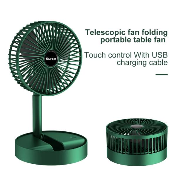 Quạt Gập Tích Điện - Quạt Mini Cầm Tay 3 Tốc Độ Gió - Có Đế Để Bàn Nhỏ Gọn Tiện Dụng,Cáp Sạc USB