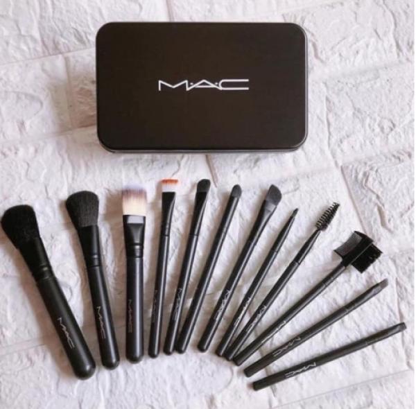 Bộ cọ trang điểm 12 món MAC, dụng cụ makeup, đồ nghề make up chuyên nghiệp, combo make-up, cọ đánh phấn, cọ mắt, dụng cụ đồ nghề trang điểm tiện lợi