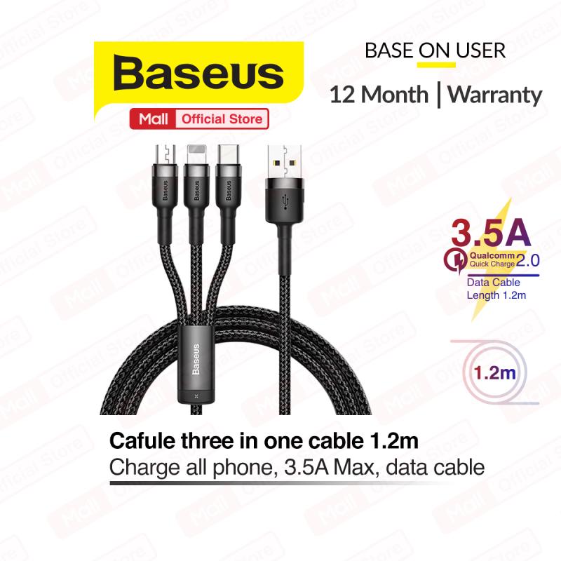 Cáp sạc 3 trong 1 Baseus Cafule USB to Lightning - TypeC - Micro Cáp sạc 3 đầu đa năng cho nhiều dòng điện thoại