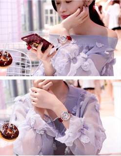 Đồng hồ nữ KING TIME Đính Đá Ruby Cầu Vòng, Mặt to nổi bật, Chống nước sinh hoạt 8