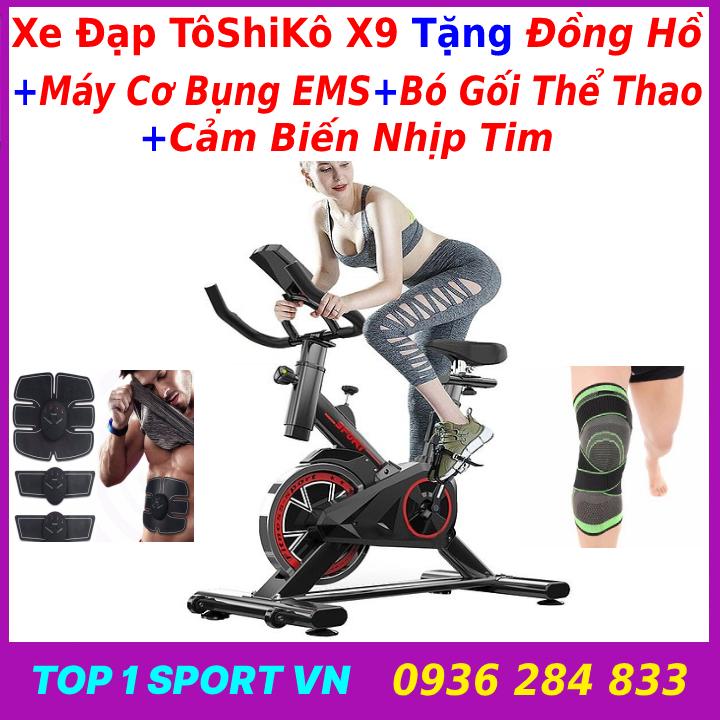 Xe đạp tập thể dục Toshiko X9 tặng máy cơ bụng + bó gối  - xe đạp tập thể dục toshiko x9 - xe đạp tập thể dục toshiko x9 tặng đồng hồ cảm biến nhịp tim - bảo hành 3 năm