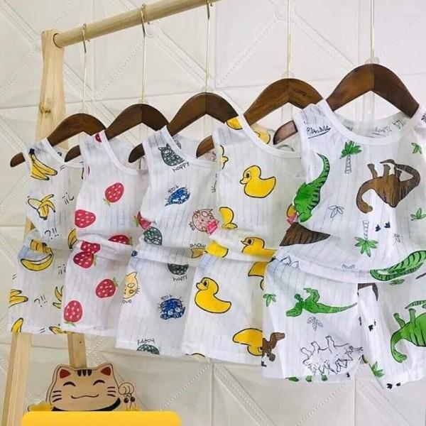Bộ cotton giấy ba lỗ cho bé 3-15kg, hàng đẹp - BO14