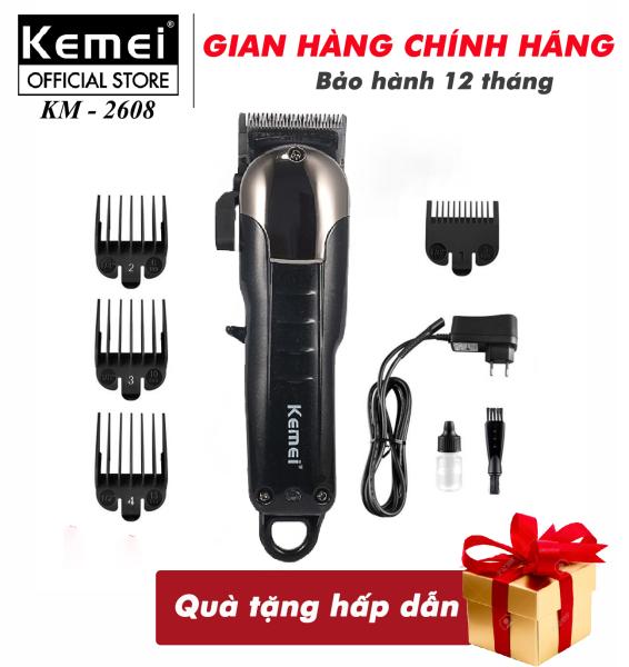 Tông đơ cắt tóc không dây Kemei KM-2608 chuyên nghiệp dành cho salon và gia đình - công suất  9W mạnh mẽ - có thể cắt tóc, chấn viền, hãng phân phối chính thức , bảo hành 12 tháng