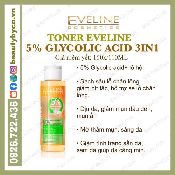 Toner Eveline 5% Glycolic Acid  cho da căng bóng, láng mướt, mờ thâm mụn