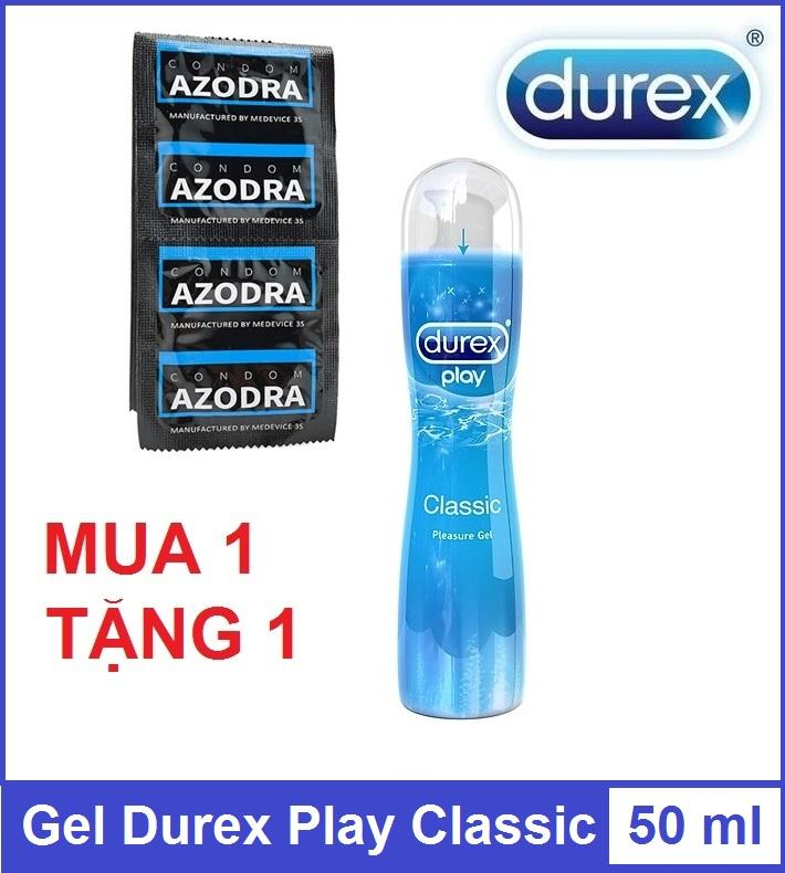 Combo 1 chiếc Bao cao su gân gai kéo dài thời gian AZODRA tặng 1 chai gel bôi trơn Durex Play Classic 50ml