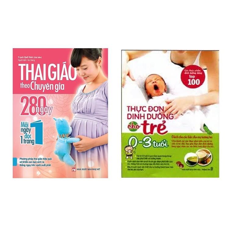 Sách - Combo Thai giáo treo chuyên gia + Thực đơn dinh dưỡng cho trẻ 0-3 tuổi- Mhbooks tặng sổ tay