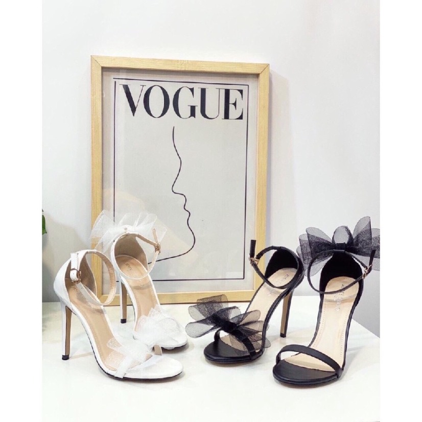 Giày Cao Gót Nhọn 9p Quay Phối Nơ Lưới Cách Điệu LZ008 giá rẻ