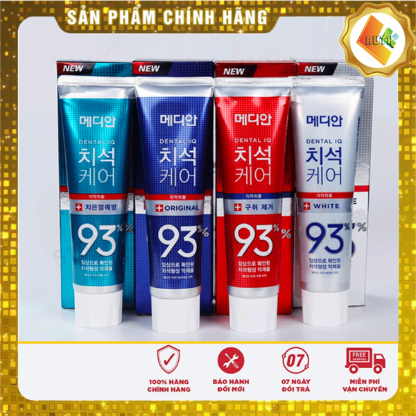 [Hàng - Auth] Kem đánh răng Median 93%  Hàn Quốc 120g x 3 tuýt Làm trắng răng, giúp loại bỏ các vết bẩn bám trên răng - Loại bỏ vôi răng, chống viêm nướu, viêm lợi, các bệnh răng miệng - Tẩy sạch cao răng và giúp răng trở trắng