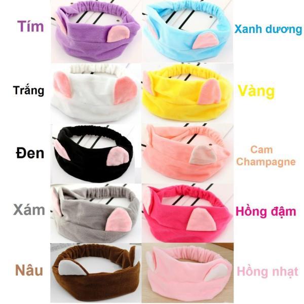 Băng Đô Nữ Hàn Quốc Vải Nhung Tai Mèo Nhiều Màu Cực Dễ Thương