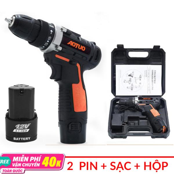 [FULL BOX] Máy khoan pin AOTUO 12V - Máy vặn vít không dây - Khoan sắt - Khoan gỗ - Bắn vít (Có lựa chọn 1 pin hoặc 2 pin)
