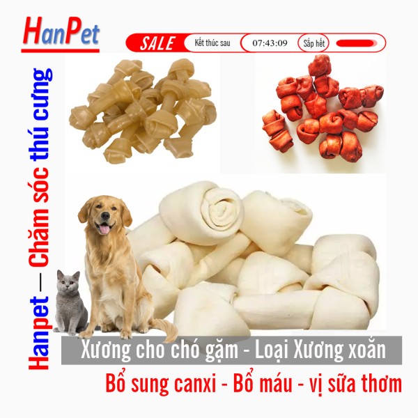 HCM-Bộ Xương xoắn cho chó gặm - dài 5cm (hanpet 368)- bổ sung canxi bổ máu làm sạch răng miệng