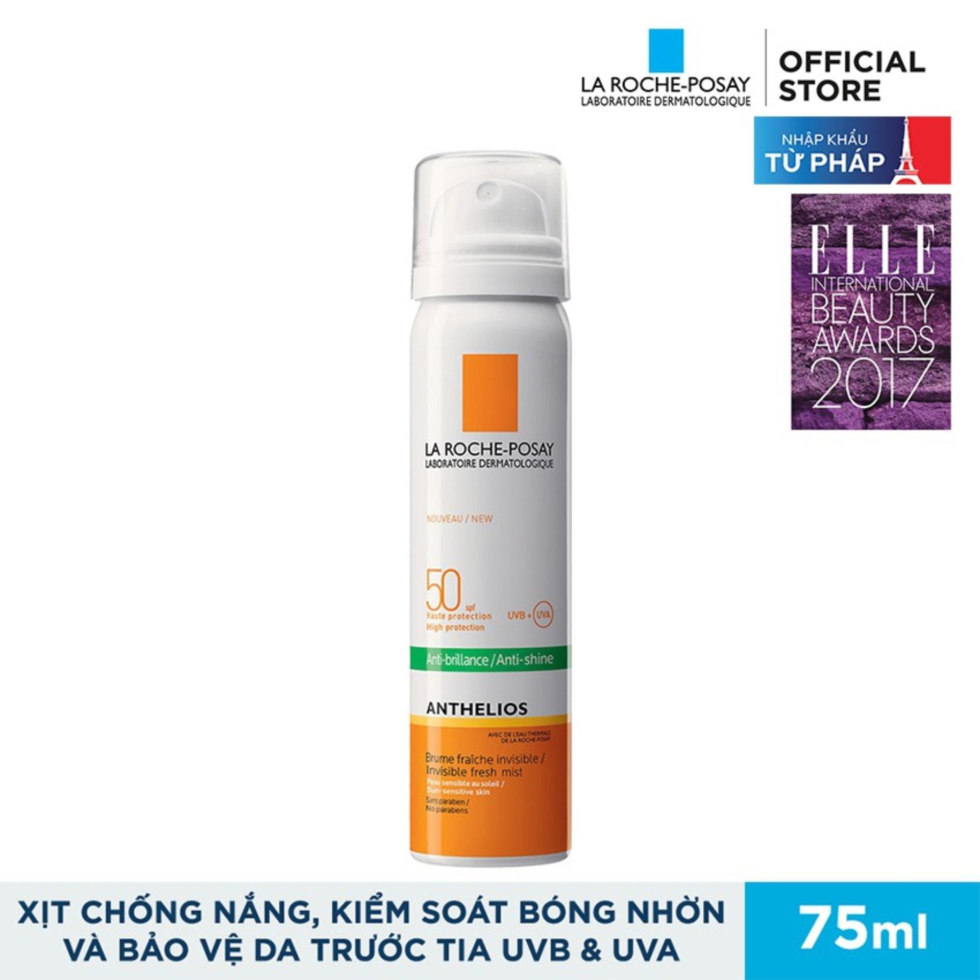 Xịt Chống Nắng, Giúp Kiểm Soát Bóng Nhờn Và Bảo Vệ Da La Roche-Posay Anthelios Anti-Shine Invisible Fresh Mist Spf50 Uvb + Uva Sun-Sensitive Skin 75ml chính hãng