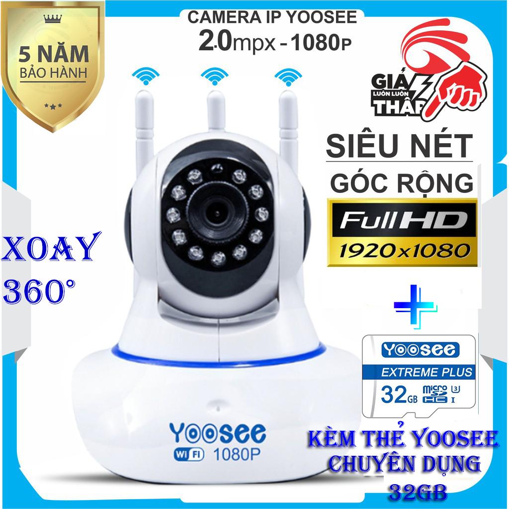 (Tặng thẻ CHUẨN CTY 32GB,CHUYÊN DỤNG CHO CAMERA , BẢO HÀNH 24 THÁNG)Camera IP Wifi Yoosee 3 Râu Full HD 1920 X 1080 Không Dây,hỗ trợ thu âm Phiên Bản 2019