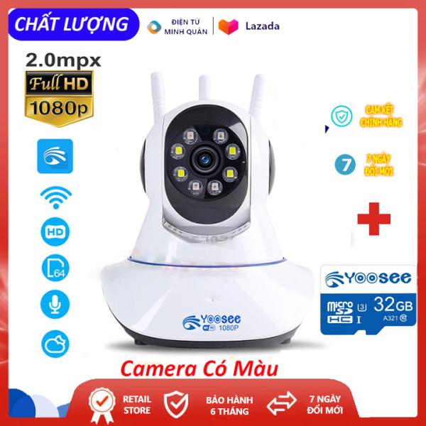 [ HÀNG MỚI VỀ] Camera Yoosee 3 râu 8 Led xoay 360 độ phân giải FULL HD 2.0MP- xem đêm có màu, hồng ngoại ban đêm- phát hiện chuyển động, camera wifi, camera an ninh gia đình, camera trong nhà ngoài trời camera tích hợp ghi âm lưu trữ