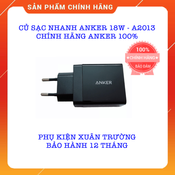 Củ Sạc Nhanh Anker 18w - A2013 - Quick Charge 3.0 (Có PowerIQ) - [PowerPort+ 1] - Chính Hãng Anker - Bảo Hành 12 Tháng