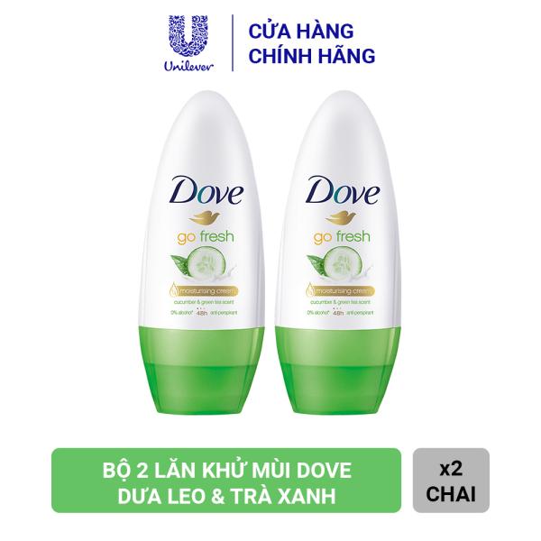 Combo 2 Lăn Khử Mùi Dove Go Fresh Dưỡng Da Sáng Mịn Hương Dưa Leo & Trà Xanh (40ml x 2)