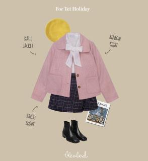 [Chỉ còn màu hồng đậm] BLEUBIRD Áo khoác caro hồng KATIE JACKET thumbnail