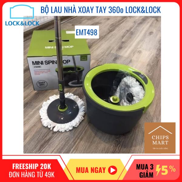 [Chính hãng] Bộ cây lau nhà xoay tay thông minh Lock&Lock ETM498 – Bông lau thấm nước gấp 7 lần – Xoay 360o dễ dàng làm sạch mọi vết bẩn – Gọn nhẹ dễ dàng di chuyển
