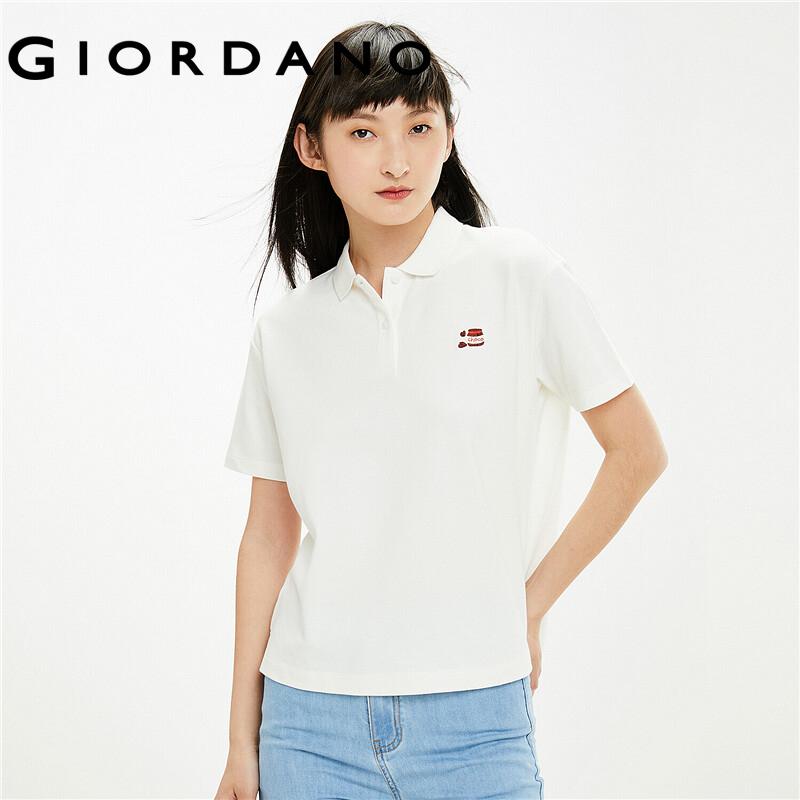Áo thun có cổ vải pique chi tiết thêu nhỏ tinh tế dành cho nữ thương hiệu quốc tế Giordano 05311381