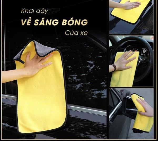 Khăn Lau Đa Năng Microfiber 2 Mặt Vàng Ghi - khăn lau xe ô tô chuyên dụng