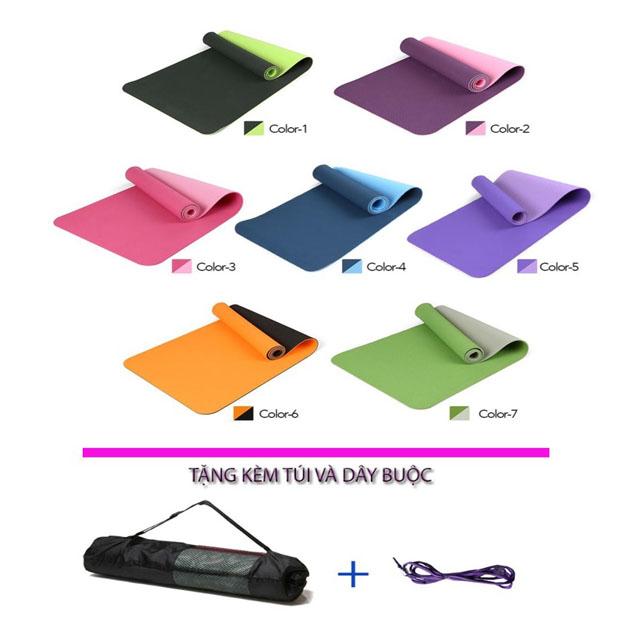 Bảng giá Thảm tập Yoga TPe 2 lớp chống trơn trượt hàng đẹp tặng túi đựng thảm và dây buộc thảm