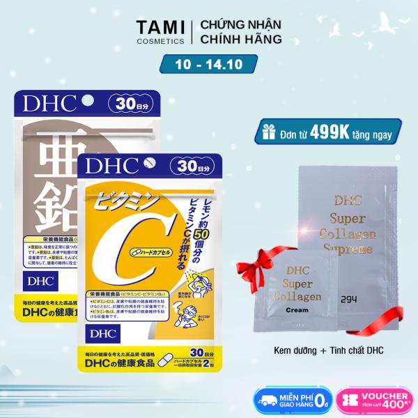 Combo NGỪA MỤN - GIẢM THÂM DHC Nhật Bản (viên uống Vitamin C và Kẽm zinc) thực phẩm chức năng giúp tăng cường sức đề kháng làm đẹp da TA-DHC-CB2 cao cấp