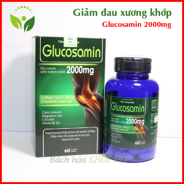 Viên Uống Bổ Xương Khớp Glucosamin 2000mg giảm đau nhức mỏi xương khớp, giảm thoái hóa khớp - Hộp 60 viên Chuẩn GMP Bộ Y Tế giá rẻ