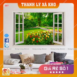 [THANH LÝ XẢ KHO] Tranh dán tường 3d - s87 Tranh 3D Cửa Sổ - Giấy dán tường 3d - Song Long Decor - thumbnail