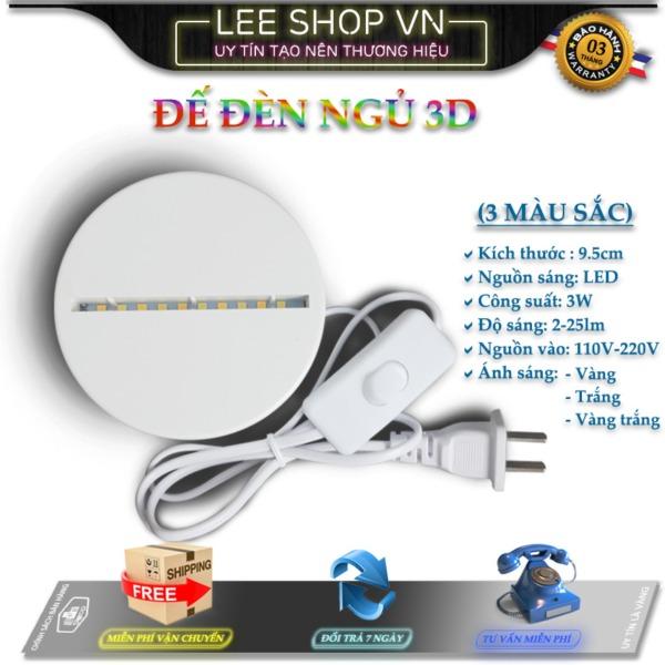 Đế gắn đèn ngủ 3D, Chân đèn ngủ 3D 3 màu, Đế đèn led, Chân đèn 3D, 10 bóng 5 trắng, 5 vàng, hàng VN sản xuất.