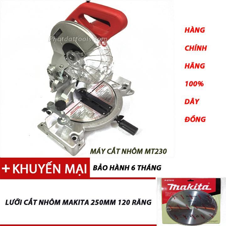 Máy cắt nhôm Miter MT230 tặng lưỡi cắt nhôm makita250mm 120 răng.